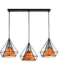 Недорогие -3-Light шишка / промышленные Подвесные лампы Рассеянное освещение Окрашенные отделки Металл Веревка, Творчество 110-120Вольт / 220-240Вольт