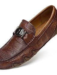 hesapli -Erkek Ayakkabı Nappa Leather İlkbahar & Kış Günlük / İngiliz Mokasen & Bağcıksız Ayakkabılar Günlük / Ofis ve Kariyer için Siyah / Kahverengi