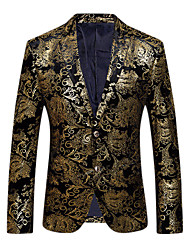 cheap Arabian Clothing-Men's Party / Daily / Club Sophisticated / Exaggerated Spring / Fall Regular Blazer, Floral V Neck Long Sleeve Cotton / Polyester Print Gold / Silver XL / XXL / XXXL / Slim
