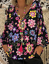 Недорогие -Жен. тропический Большие размеры - Блуза Рубашечный воротник Классический Цветочный принт / С принтом / Мода / Весна / Лето / Осень / Зима