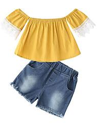 Χαμηλού Κόστους -Παιδιά Κοριτσίστικα Ενεργό / Κομψό στυλ street Καθημερινά / Εξόδου Patchwork Patchwork Κοντομάνικο Κοντό Ρεϊγιόν Σετ Ρούχων Κίτρινο