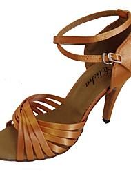 baratos -Mulheres Sapatos de Dança Latina Cetim Salto Salto Carretel Personalizável Sapatos de Dança Rosa claro / Azul marinho / Amêndoa