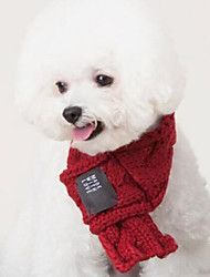 Недорогие -Собаки / Коты Шарф для собаки Одежда для собак Однотонный Красный / Зеленый Акриловые волокна Костюм Для домашних животных Женский / Мужской Мода