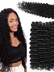 お買い得  -閉鎖した3つのバンドル ブラジリアンヘア ディープ・カーリー 人毛 布模様 閉鎖が付いている毛横糸 10-26 インチ ナチュラル 人間の髪織り 4x4の閉鎖 無臭 ソフト 新参者 人間の髪の拡張機能 女性用