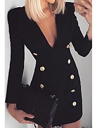 Недорогие -женское повседневное платье-футляр миди с V-образным вырезом черного цвета s m l xl