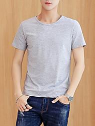 Недорогие -мужская футболка большого размера из хлопка - сплошная шея