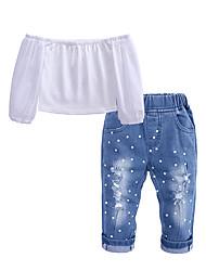 levne -Děti / Toddler Dívčí Šik ven Denní / Jdeme ven Jednobarevné Ripped Poloviční rukáv Bavlna / Polyester Sady oblečení Bílá