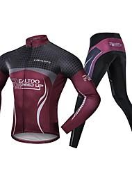 Χαμηλού Κόστους -Realtoo Μακρυμάνικο Φανέλα με κολάν για ποδηλασία - Μαύρο / Κόκκινο Ποδήλατο Αδιάβροχη, Αναπνέει Spandex Κλασσικά / Μικροελαστικό