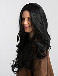 Недорогие -Парики из искусственных волос Блестящий завиток Черный Боковая часть Черный как смоль Искусственные волосы 26 дюймовый Жен. Модный дизайн / Новое поступление / Природные волосы Черный Парик