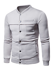ราคาถูก -เสื้อยืดแขนยาวผู้ชาย - บล็อคสี / ทรงเรขาคณิตรอบคอสีแดง m