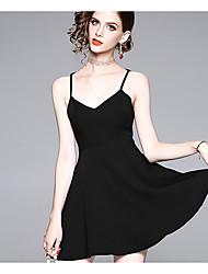 abordables -Femme Basique Au dessus du genou Trapèze Robe Blanc Noir S M L Sans Manches