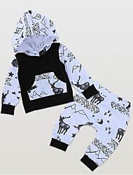 levne -Dítě Chlapecké Šik ven Denní Tisk Dlouhý rukáv Standardní Polyester Sady oblečení Černá