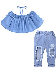 お買い得  -子供 / 幼児 女の子 ストリートファッション 日常 / お出かけ ソリッド 引き裂かれました ノースリーブ コットン / ポリエステル アンサンブル ブルー