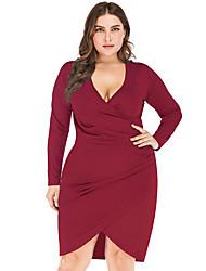 Недорогие -женское плюс размер ежедневное асимметричное платье без рукавов с v-образным вырезом вино черный зеленый xl xxl xxxl 4xl