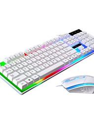 Недорогие -Кабель Комбинация клавиатуры мыши Градиент цвета Автоматическая перезарядка Механическая клавиатура Gaming Mouse 1600 dpi 3 pcs