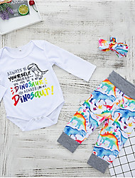cheap -Baby Girls' Street chic Daily Print Long Sleeve Regular Polyester Clothing Set White
