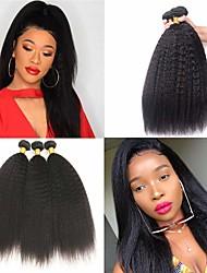abordables -Lot de 3 Cheveux Brésiliens Droit crépu Cheveux humains Naturels Non Traités Tissages de cheveux humains Accessoire de Costume Bundle cheveux 8-28 pouce Couleur naturelle Tissages de cheveux humains