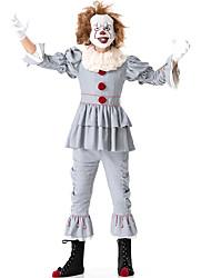 Недорогие -Клоун Цирк Костюм для вечеринки Взрослые Муж. Забавные Хэллоуин Рождество Хэллоуин Карнавал Фестиваль / праздник Нейлон Tactel Серый Карнавальные костюмы Однотонный