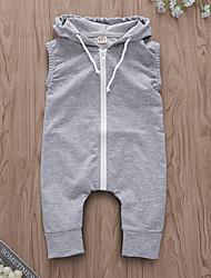 お買い得  -赤ちゃん 女の子 ストリートファッション 日常 ソリッド ノースリーブ ポリエステル ワンピース グレー