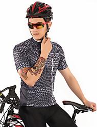 お買い得  -FirtySnow 男性用 半袖 サイクリングジャージー - グレー チェック / 格子柄 バイク ジャージー, 高通気性 速乾性 ポリエステル / 伸縮性あり