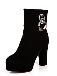 hesapli -Kadın's Ayakkabı PU Sonbahar Kış Vintage / Minimalizm Çizmeler Kalın Topuk Yuvarlak Uçlu Yarı-Diz Boyu Çizmeler Günlük / Ofis ve Kariyer için Kırmzı / Yeşil / Mavi