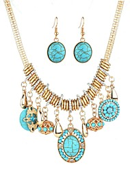 cheap -Women's Turquoise Classic Jewelry Set Rhinestone Hyperbole, Ethnic, Fashion, western style Include Drop Earrings Gold For Party Festival