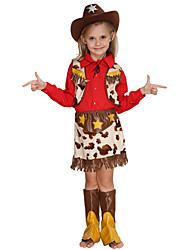 Недорогие -Westworld Вест Ковбой Ковбойские костюмы Девочки Детские Инвентарь Активный Рождество Хэллоуин Карнавал Фестиваль / праздник Хлопок Полиэстер Инвентарь Красный Звезды