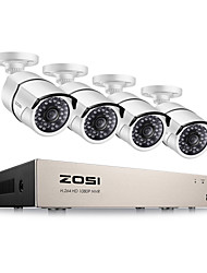 cheap -ZOSI® 4CH 1080P Video Security Camera System  4 White Weatherproof Cameras 4 Channel 1080P HD-TVI DVR Night Vision PC Easy Remote Access
