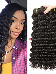 cheap -4 Bundles Peruvian Hair Deep Wave 100% Remy Hair Weave Bundles Natural Color Hair Weaves / Hair Bulk Bundle Hair Human Hair Extensions 8-28inch Natural Color Human Hair Weaves Simple Odor Free Soft