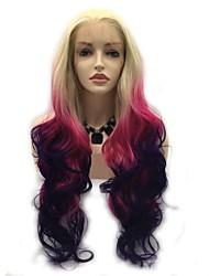 お買い得  -合成レースフロントウィッグ 女性用 ウェーブ ピンク レイヤード・ヘアカット 130% 人間の毛髪密度 合成 24 インチ 女性 ピンク / パープル かつら ロング フロントレース ピンク / パープル Sylvia