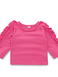 cheap -Baby Girls' Street chic Daily Solid Colored Long Sleeve Polyester Blouse Pink