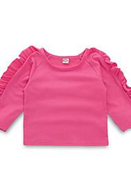 ราคาถูก -ทารก เด็กผู้หญิง Street Chic ทุกวัน สีพื้น แขนยาว เส้นใยสังเคราะห์ เสื้อสตรี สีแดงชมพู