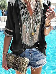 Недорогие -Жен. Рубашка Хлопок, V-образный вырез Свободный силуэт Классический В полоску