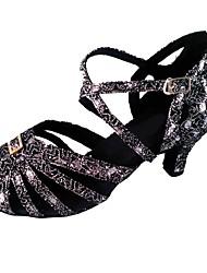 Недорогие -Жен. Обувь для латины Синтетика Сандалии Crystal / Rhinestone Кубинский каблук Персонализируемая Танцевальная обувь Черный