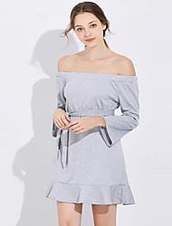 Недорогие -женское платье выше колена стройное труба / русалка с плеча вино светло-серый черный s m l xl