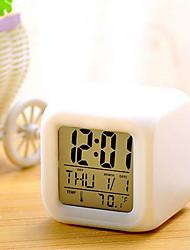 Недорогие -7 цветов привело изменение цифровой будильник настольный термометр ночь светящийся куб жк-часы