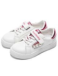 baratos -Para Meninas Sapatos Couro Sintético Primavera & Outono Conforto Tênis Velcro para Infantil / Adolescente Branco / Rosa e Branco / Branco e Verde