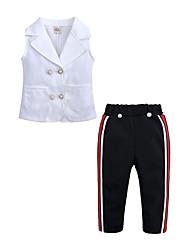 お買い得  -子供 / 幼児 女の子 ストリートファッション 日常 / お出かけ パッチワーク ノースリーブ コットン / ポリエステル アンサンブル ホワイト