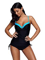 זול -XL XXL XXXL גב חשוף קולור בלוק, בגדי ים טנקיני מרובה קשרים כחול בהיר בסיסי בגדי ריקוד נשים