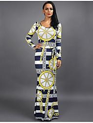 cheap -Women's Daily Maxi Slim Trumpet / Mermaid Dress - Geometric Print Yellow M L XL
