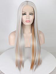 Недорогие -Синтетические кружевные передние парики Жен. Прямой Омбре Средняя часть 180% Человека Плотность волос Искусственные волосы 18-26 дюймовый Регулируется / Кружева / Жаропрочная Омбре Парик Длинные