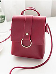 cheap -Women's Bags PU(Polyurethane) Shoulder Bag Zipper Solid Color Red / Pink / Beige