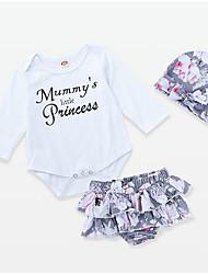 levne -Dítě Dívčí Aktivní Denní Květinový Dlouhý rukáv Standardní Polyester Sady oblečení Bílá