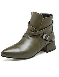hesapli -Kadın's Ayakkabı PU Sonbahar Kış Vintage / Minimalizm Çizmeler Düşük Topuk Sivri Uçlu Bootiler / Bilek Botları Günlük / Ofis ve Kariyer için Sarı / Kırmzı / Yeşil
