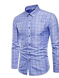 Недорогие -Муж. Рубашка Тонкие Однотонный / В клетку / Длинный рукав