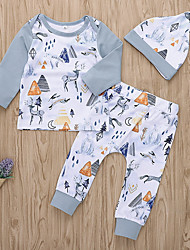 cheap -Baby Girls' Active Daily Print Long Sleeve Regular Polyester Clothing Set White