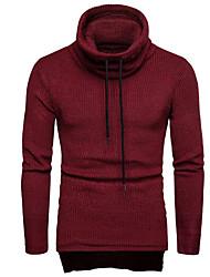 ราคาถูก -สำหรับผู้ชาย ทุกวัน สีพื้น แขนยาว ปกติ ผ้าคลุมหลัง สีดำ / สีน้ำเงินกรมท่า / ไวน์ L / XL / XXL