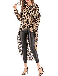 Недорогие -женская свободная футболка размера eu / us - леопардовая шея