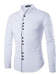 hesapli -erkekler asya boyutu ince gömlek - düz renkli gömlek yaka