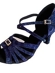 Недорогие -Жен. Обувь для латины Синтетика На каблуках Crystal / Rhinestone Кубинский каблук Персонализируемая Танцевальная обувь Темно-синий